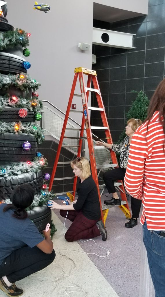 2018 Decorate Trees for a Cause--United Way tree donated and decorated by Goodyear Tire and Rubber Company