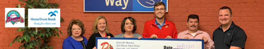 Danville Braves and HomeTrust Bank present check to United Way.